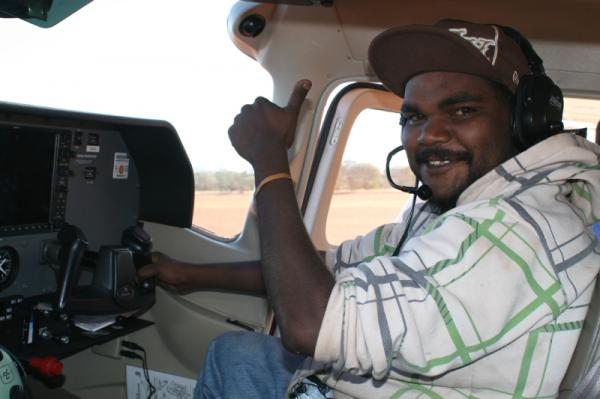 Paul Pumpjack in the cessna on Angas Downs