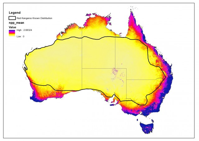 Estimating Kangaroo Populations Maxent And GIS Modelling - Australia population density map 2015